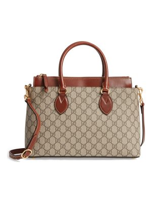 GUCCI Small Top Handle Gg Supreme Canvas & Leather Tote