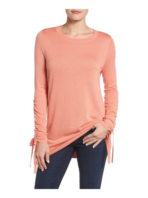 HALOGEN Halogen Ruched Sleeve Tunic Sweater