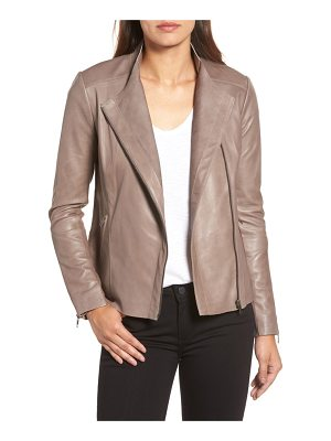 HALOGEN Halogen Asymmetrical Leather Jacket