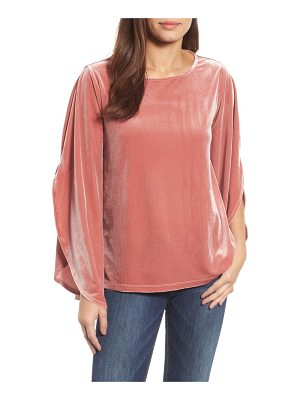 HalogenR halogen split sleeve velvet top