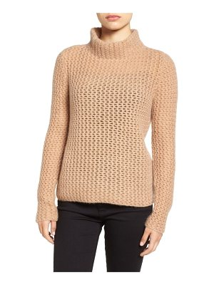 HALOGEN Halogen Stitch Detail Cashmere Mock Neck Sweater