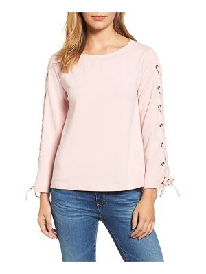 HALOGEN Halogen Wide Neck Lace-Up Sleeve Top