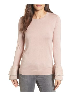 HalogenR halogen metallic trim flare cuff sweater
