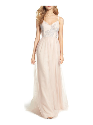 Hayley Paige Occasions metallic embellished gown