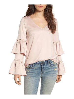 HINGE Ruffle Sleeve Satin Blouse