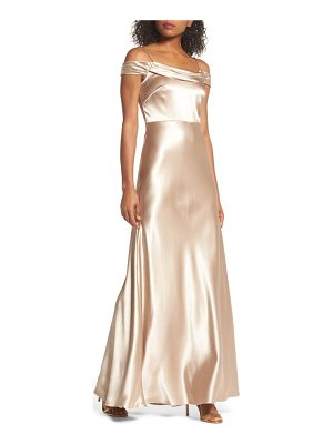 JENNY YOO Sabine Satin Off The Shoulder Gown
