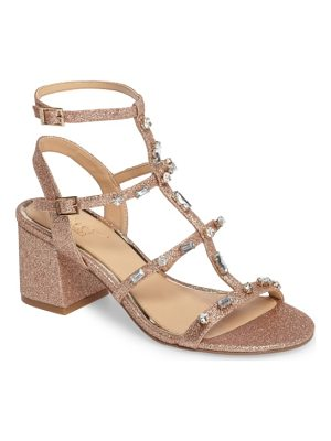 JEWEL BADGLEY MISCHKA Ana Crystal Studded Block Heel Sandal