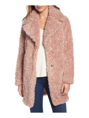 KENSIE 'Teddy Bear' Notch Collar Reversible Faux Fur Coat