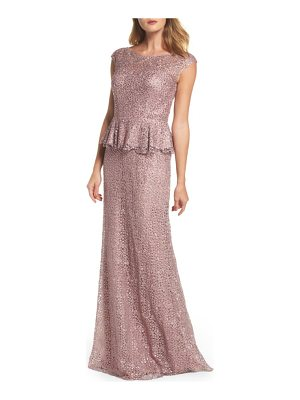 La Femme embellished lace peplum gown