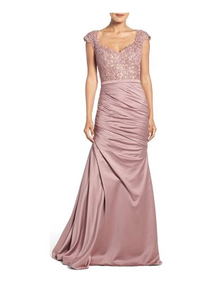 La Femme embellished lace & satin mermaid gown