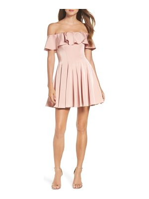 LA FEMME Ruffle Off The Shoulder Fit & Flare Dress