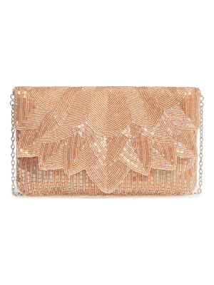 LA REGALE Beaded Petal Flap Clutch