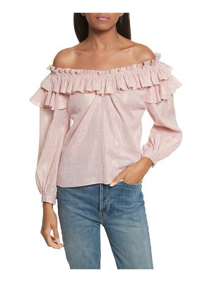 LA VIE BY REBECCA TAYLOR Off The Shoulder Metallic Ruffled Top