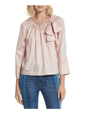 LA VIE BY REBECCA TAYLOR Bow Neck Washed Sateen Top