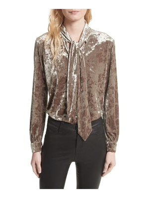 L'Agence gisele crushed velvet tie neck blouse