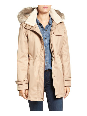 Larry Levine faux shearling & faux fur trim water repellent parka with detachable hood