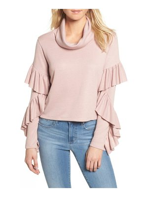 LEITH Funnel Neck Ruffle Top