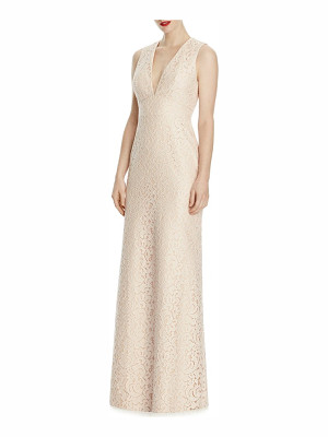 Lela Rose v-neck lace a-line gown