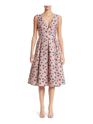 LELA ROSE Floral Matelasse A-Line Dress