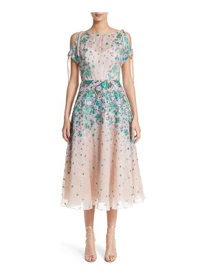 LELA ROSE Floral Matelasse Cold Shoulder Dress