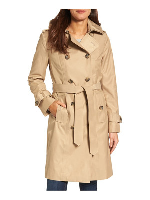 London Fog hooded double breasted long trench coat