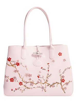 LONGCHAMP Roseau Sakura Embroidered Leather Shoulder Tote