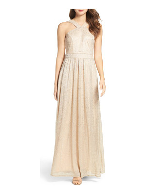 Lulus high neck shimmer gown
