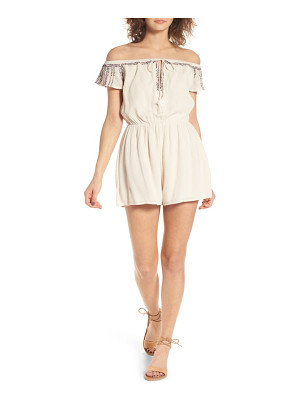 Lush embroidered off the shoulder romper