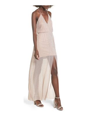 LUSH Metallic Surplice Maxi Dress