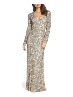MAC DUGGAL Beaded Long Sleeve Gown