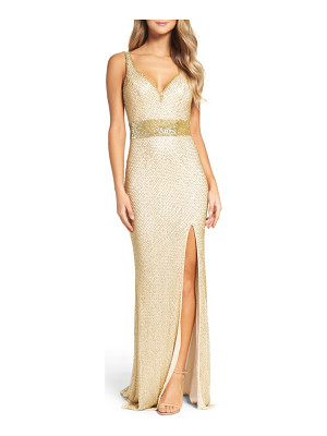 Mac Duggal beaded mesh gown