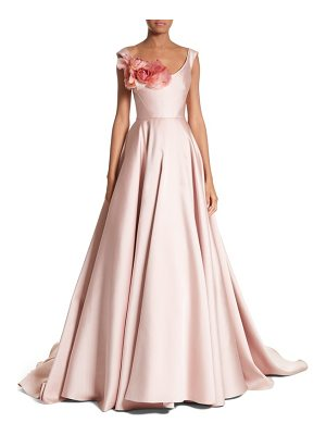 MARCHESA Corsage Off The Shoulder Satin Ballgown