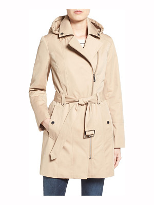 MICHAEL Michael Kors asymmetrical zip front hooded trench coat