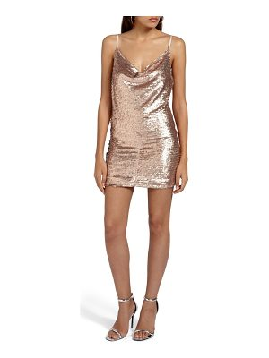 MISSGUIDED Cami Cowl Neck Sequin Minidress