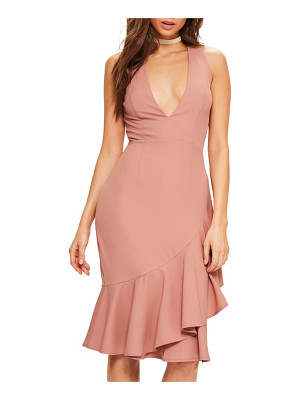 MISSGUIDED Plunge Ruffle Body-Con Dress