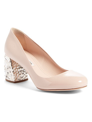 MIU MIU Crystal Block Heel Pump