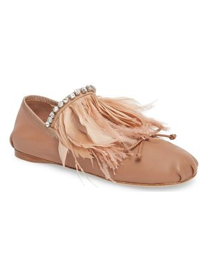 Miu Miu feather embellished ballet flat
