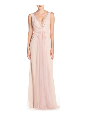 Monique Lhuillier Bridesmaids deep v-neck chiffon & tulle gown