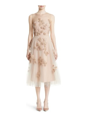 NORDSTROM X CAROLINA HERRERA Carolina Herrera Sequin Leaf Tulle Midi Dress