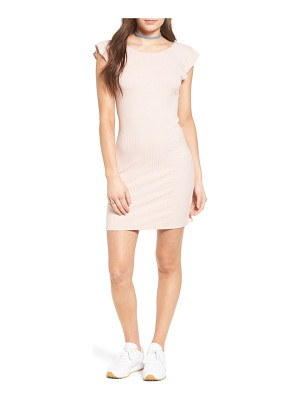 One Clothing ruffle trim ribbed body-con dress