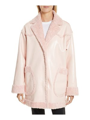 OPENING CEREMONY Faux Shearling & Faux Patent Reversible Coat