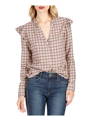PAIGE Jenelle Ruffle Plaid Shirt
