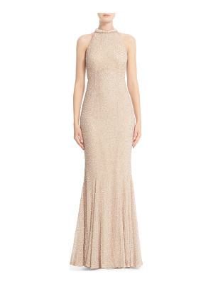 Rachel Gilbert hand embellished halter mermaid gown