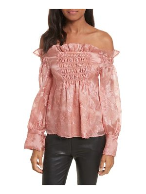 REBECCA TAYLOR Off The Shouler Metallic Floral Organza Blouse