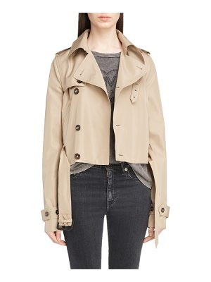 SAINT LAURENT Cotton Gabardine Crop Trench Jacket