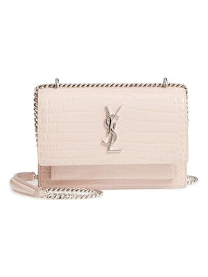 SAINT LAURENT Mini Monogram Sunset Croc Embossed Leather Shoulder Bag