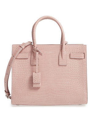 Saint Laurent baby sac de jour croc embossed calfskin leather tote