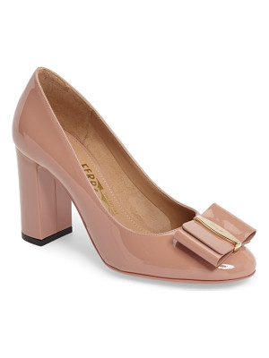 SALVATORE FERRAGAMO Block Heel Bow Pump