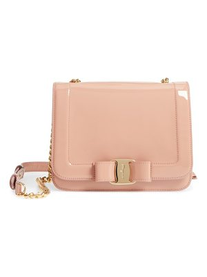 SALVATORE FERRAGAMO Vara Patent Leather Shoulder Bag