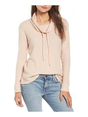 SOCIALITE Cowl Neck Waffle Knit Top
